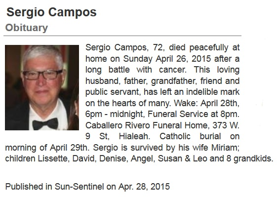 Sergio Campos Obituary April 28 2015
